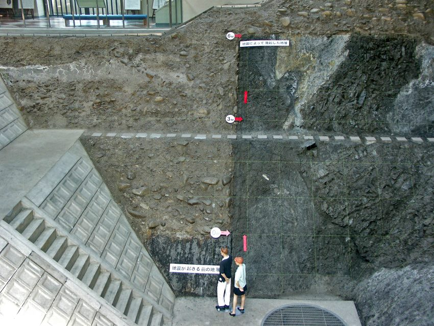 หลุมดูรอยเลื่อนในพิพิธภัณฑ์รอยเลื่อนแผ่นดินไหว เมืองโมโตสึ ประเทศญี่ปุ่น เป็นหลุมที่ขุดตัดขวางแนวรอยเลื่อนเนโอะดาไน (Neodani fault) ซึ่งเป็นรอยเลื่อนตามแนวระดับเลื่อนไปทางซ้าย และมีการเลื่อนในแนวดิ่งด้วย  (Photo via glgarcs.net)