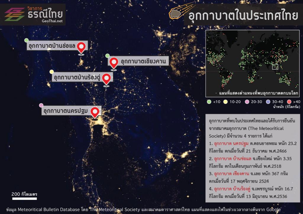อุกกาบาตในประเทศไทย (เครดิต: GeoThai.net)