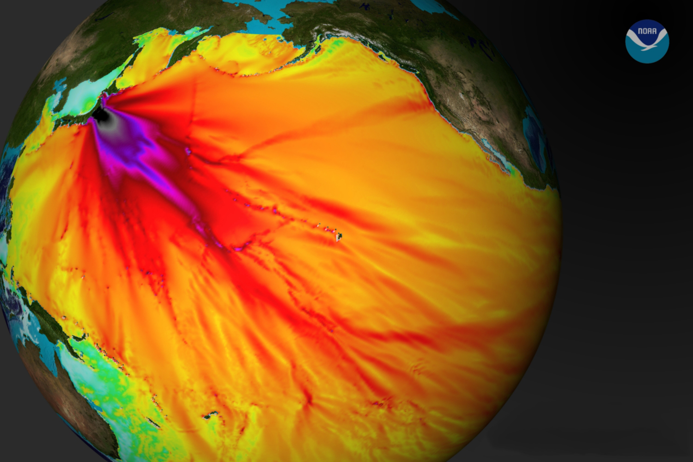 แบบจำลองความสูงของคลื่นสึนามิจากแผ่นดินไหวญี่ปุ่น 2554 โดย NOAA