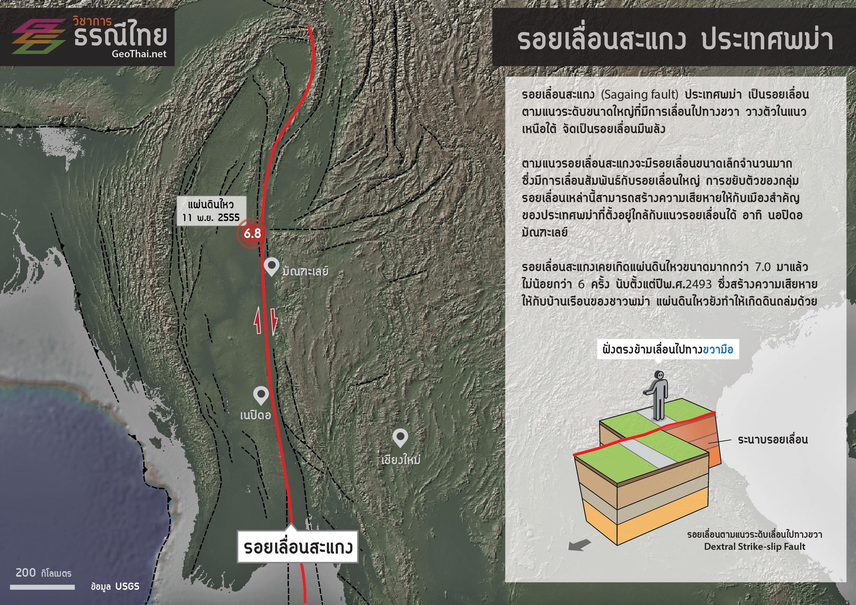 แผนที่แสดงตำแหน่งรอยเลื่อนสะแกง (GeoThai.net)
