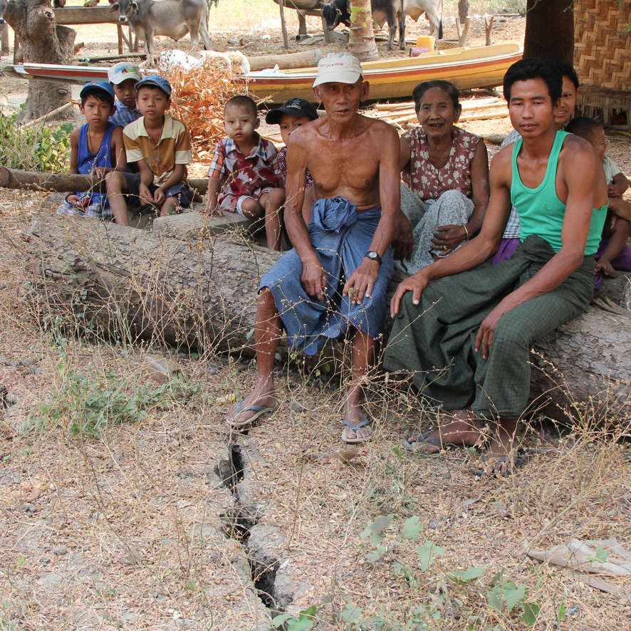 """We live on the fault in Ponna village. These fractures appeared throughout the village during the November earthquake. Our water well dried up and has not produced anything since then."""
