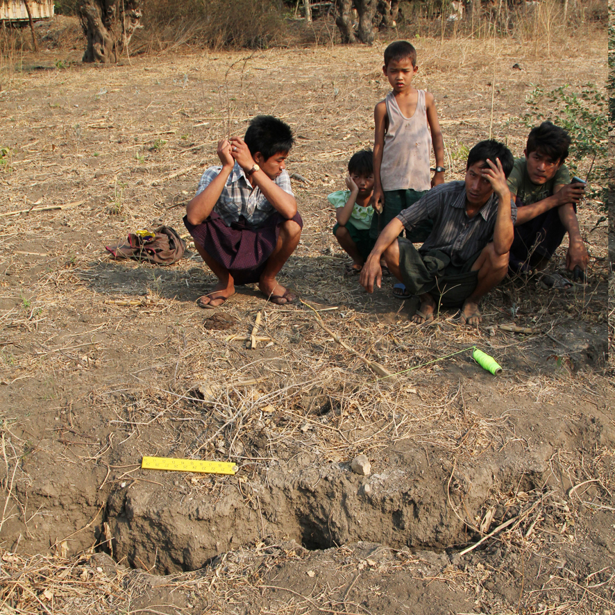 """Our field lies on the fault. The centre of the field subsided by over 1 metre during the earthquake. Our water well dried up so now we get water from the Ayeyarwaddy river, an hour's walk away. The river is full of human waste so even now our health is at risk as a result of the earthquake."""
