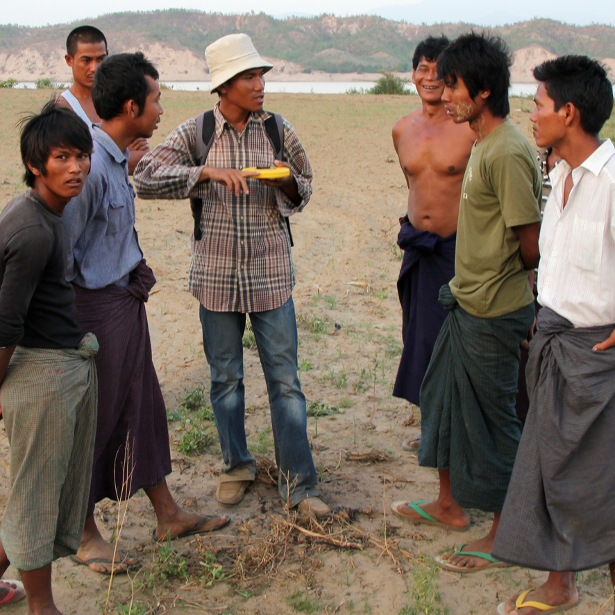 """My name is Lin Thu Aung and I work for the Myanmar Earthquake Committee – the only such organisation in Myanmar and manned entirely by volunteers. I am providing education about earthquakes to people such as these farmers who live along the fault."""