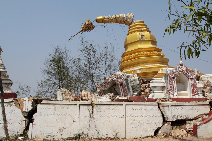 """I am Thein Taung pagoda. Perched on a precarious hill, my associated monastery and I sustained major damage during November. The monastery is being rebuilt and monks continue to live on these unstable slopes."""