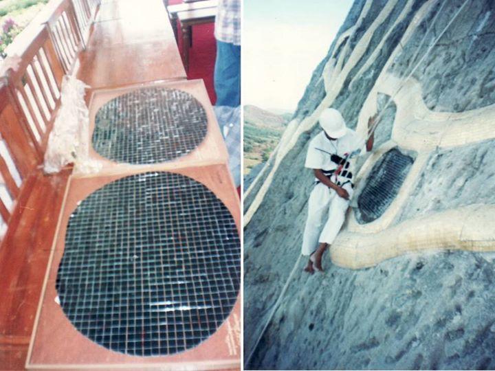 ภาพซ้าย โมเสคนิลสำหรับติดตั้งบนพระเนตรดำขององค์พระฯ  ภาพขวา ขณะกำลังติดตั้งที่พระเนตรดำ