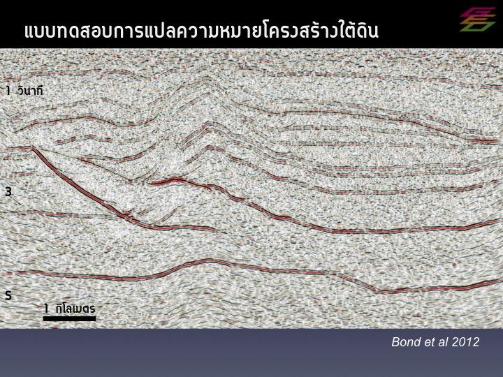 ภาพคลื่นไหวสะเทือนใต้พื้นดิน ที่ใช้ทดสอบความสามารถในการแปลความหมายของนักธรณีวิทยา (Bond et al, 2012)